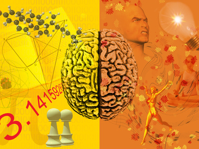 brain in center; left half is yellow with chess pieces, geometric figures, and molecules; right half is orange, shows faces, dance, colors, light bulb (for ideas) and meditation