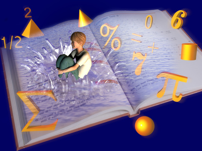 boy in white shirt and green pants cannonballs into book; fractions, percent sign, pi, sigma,  equals sign, plus sign, numerals 0, 2, 6, and 7, and a cone, pyramid, cylinder and sphere in gold bounce out of book