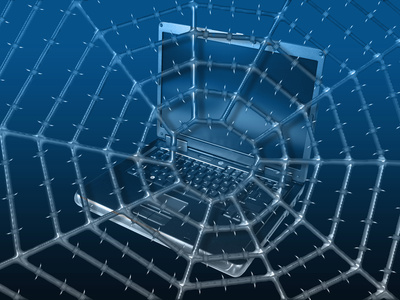 Art of a Computer and Barbed Web to Illustrate the Concept of Internet Security