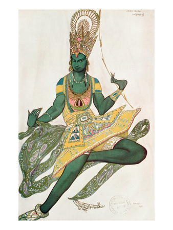 Costume Design for Nijinsky (1889-1950) for His Role as the 'Blue God', 1911 (W/C on Paper)