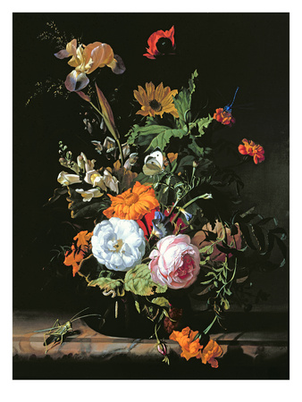 Still Life of Summer Flowers (Oil on Canvas on Panel)