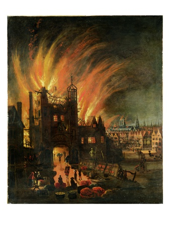 The Great Fire of London (September 1666) with Ludgate and Old St Paul's, C.1670 (Oil on Canvas)