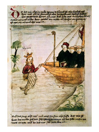 St. Brendan and a Siren, from the German Translation of 'Navigatio Sancti Brendani Abbatis', C.1476