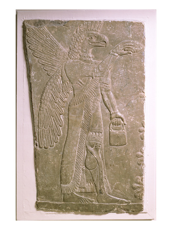 Eagle-Headed Winged Genius, Assyrian, Mesopotamian, 883-859 BC (Limestone)