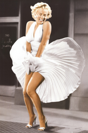 Marilyn Monroe - Seven Year Itch, White Dress, Color Art Poster