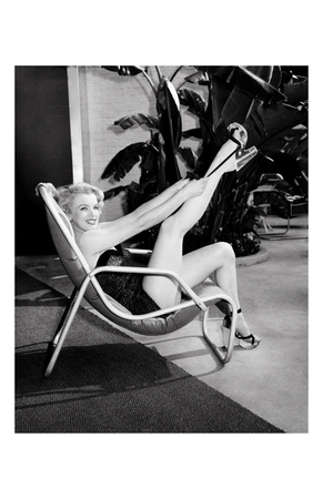 Marilyn Monroe in Bathing Suit with Leg Up - Art Print