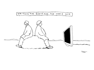 """Waiting for Godot and the cable guy."" Two people are sitting on a rock an…"" - New Yorker Cartoon"