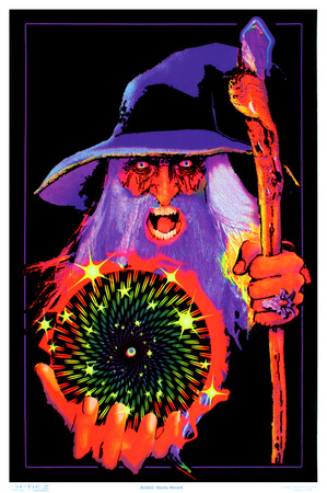 Mystic Wizard Flocked Blacklight Poster