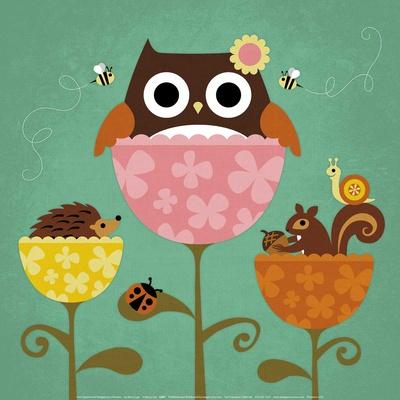 Owl, Squirrel and Hedgehog in Flowers - Art Print