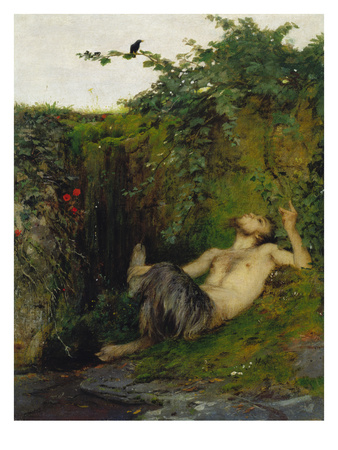 Faun Blowing a Whistle to a Blackbird, 1863
