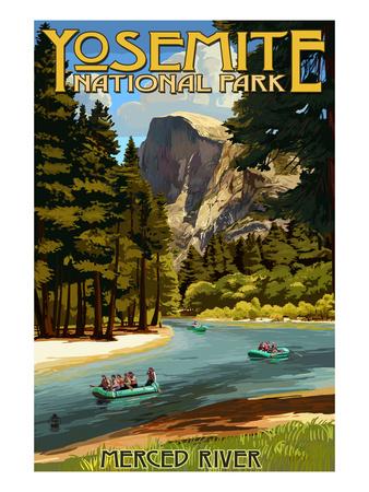 Merced River Rafting - Yosemite National Park, California Sports Art Print