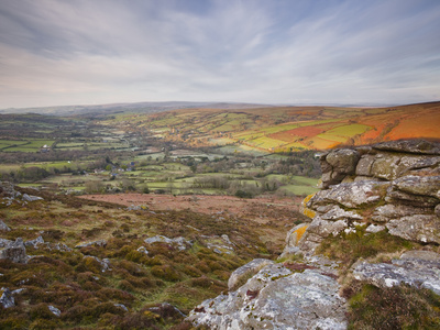 Looking Down to Widecombe-In-The-Moor from Chinkwell Tor in Dartmoor National Park, Devon, England