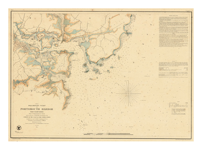 Portsmouth, New Hampshire Harbor chart.