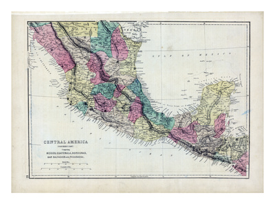 Map of Central America. 1873.