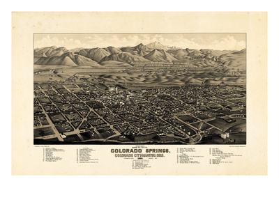 1882, Colorado Springs - Colorado City - Manitou Bird's Eye View, Colorado, United State