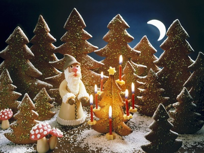 A Christmas Forest Scene with ...