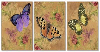 Aqua Butterfly Garden Triptych Art