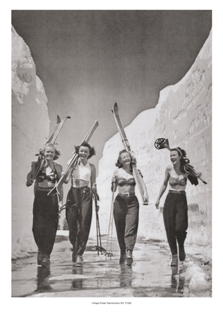 Girls Gone Skiing Art Print