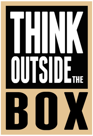 Think outside the box innovation motivational poster artwork