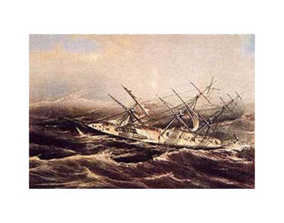 Clipper Ship Comet in rough seas.