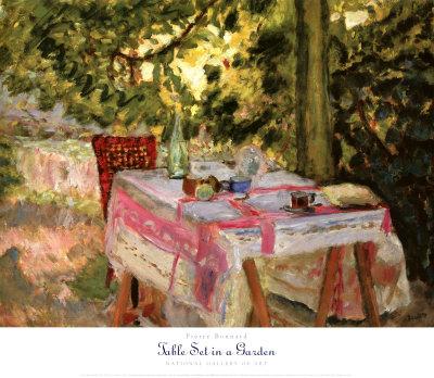Table Set in a Garden - Art Print