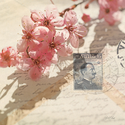 Pink cherry blossom flowers, vintage writing paper, Italian blue stamp and streaming sunshine