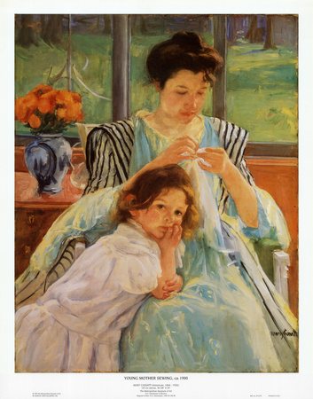 Young Mother Sewing - Art Print