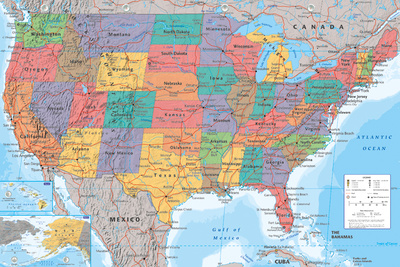 USA Map College Poster