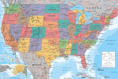 USA Map Poster