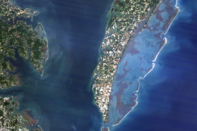 Satellite Image of Chesapeake Bay Meteor Impact Crater, Virginia, USA