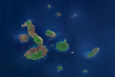 Satellite Image of Galapagos Archipelago, Ecuador