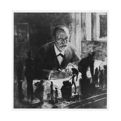 Freud bei der Arbeit