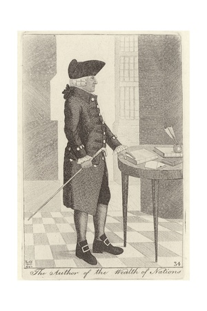 Engraving of Adam Smith in tricorn hat, knee breeches and jacket, standing in a room with tiled lozenge floor at a table with some papers on it