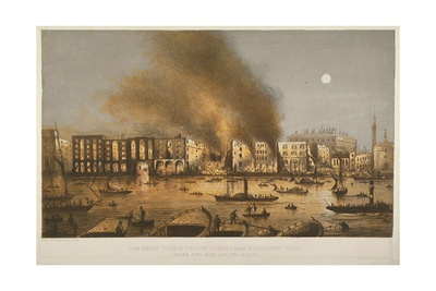 Night Time View of the 1861 Fire in Tooley Street, Bermondsey, 1861