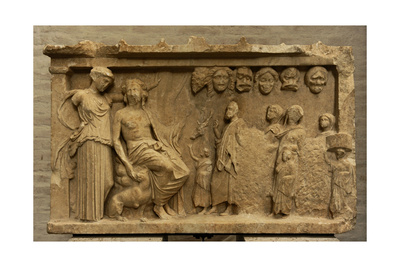 Votive Stele Depicting a Sacrificial Procession to Dionysus and Artemis. 4th Century BC