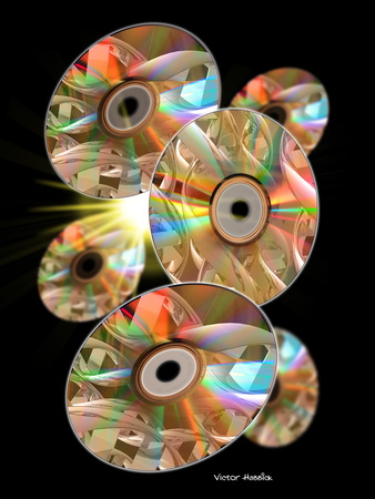 "six compact discs are arranged in a helical spiral, with numerous reflections on the shiny sides, to resemble <abbr title=""deoxyribonucleic acid"">DNA</abbr>"