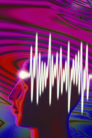 pink and purple background with ripples, human head illuminated from left, over that is a conceptual drawing in white of EEG brainwave graph