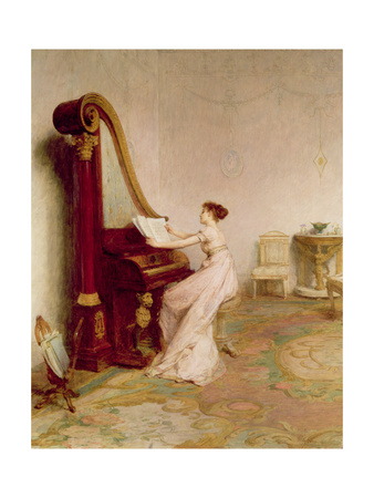 Woman in long white dress plays a harp-piano