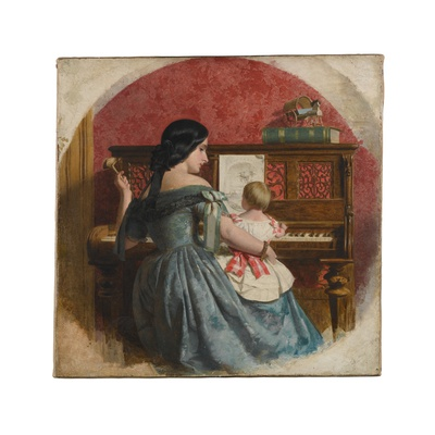 Woman in a blue dress seated at a piano holding a toddler in a pink dress