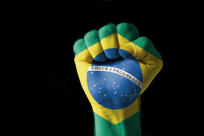 Buy Fist Painted In Colors Of Brazil Flag at AllPosters.com