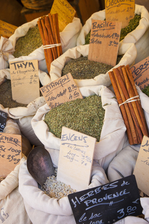 Sacks of Herbs for Sale, Collioure, Languedoc-Roussillon, France