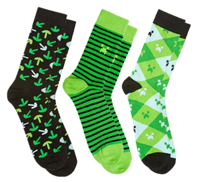 Minecraft Socks 3 Pack - Green