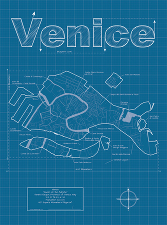 Buy Venice Artistic Blueprint Map at AllPosters.com
