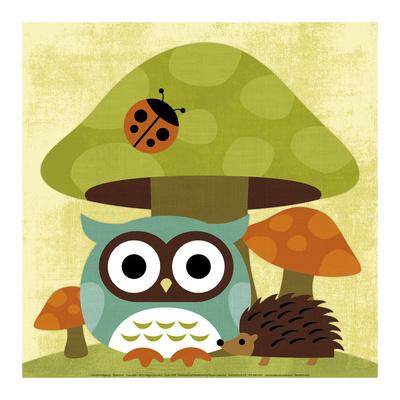 Owl and Hedgehog - Art Print