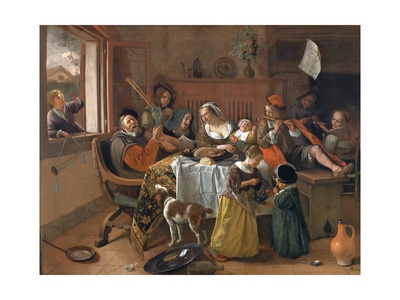Renaissance painting showing mother, father, and nine children of varying ages from teens to an infant. The room is in some disorder with someone climbing in through the window holding a trumpet, and several children playing flute, shawm, and other instruments
