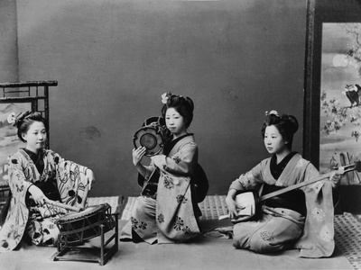 Women Playing Traditional Japanese Instruments..