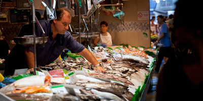 Fishmonger at a Fish Stall, La ...