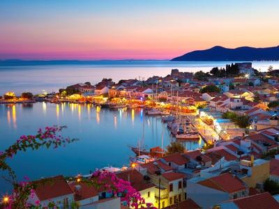 Greek Harbour at Dusk, Samos, Aegean Islands Sports Art Print