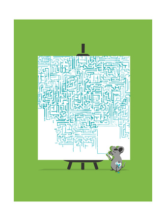 on a green background, a gray lab rat with a beret and a palette paints a canvas thirty times his size with a maze painted in medium blue. The painting covers about 80% of the white canvas, the blank spots are towards the bottom.