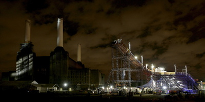 Battersea Power Station Illuminated Next to the Temporary Ski and Snowboard Slope by Jonathan Brady